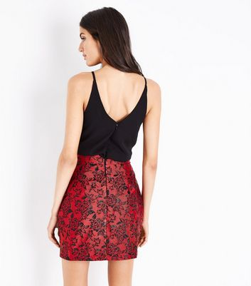 AX Paris Red Floral Brocade 2 in 1 Dress New Look