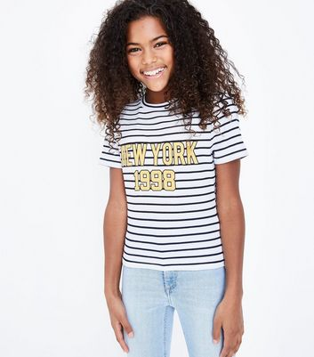 "Girls – Weiß gestreiftes T-Shirt mit ""New York 1998""-Slogan"