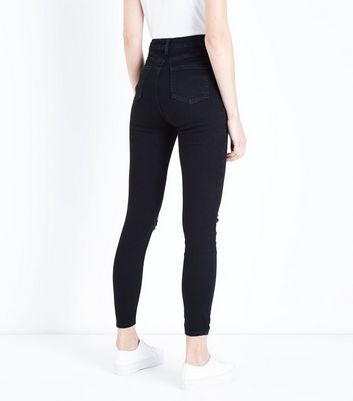 Black High Waist Ripped Skinny Jeans New Look