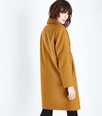 Gold Longline Collared Coat New Look