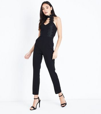 AX Paris Black Crochet Trim Choker Neck Jumpsuit