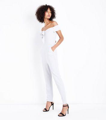 AX Paris Grey Frill Trim Bardot Neck Jumpsuit New Look