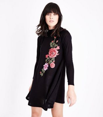 AX Paris Floral Embroidered Knitted Swing Dress New Look