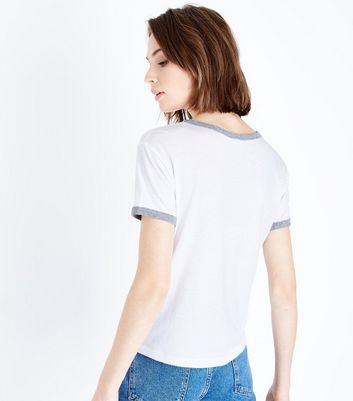 White and Grey Ringer T-Shirt New Look