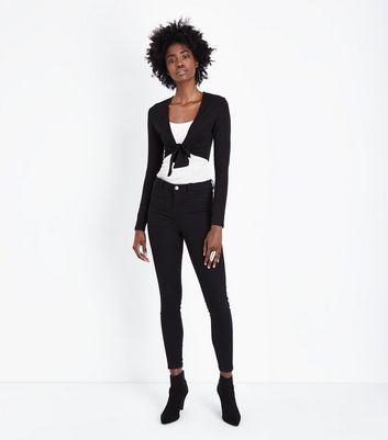 Black Tie Front Crop Top New Look