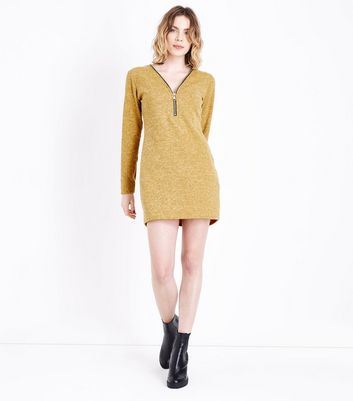 Cameo Rose Mustard Fine Knit Zip Front Tunic New Look