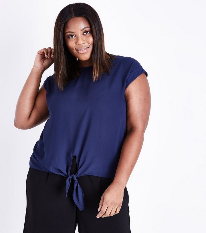 4fdc0f47fd9 Curves Navy Tie Front T-Shirt