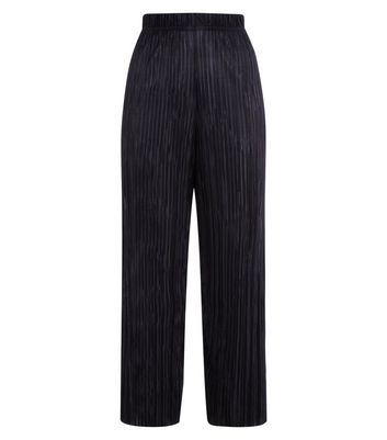 Black Plisse Cropped Side Stripe Trousers New Look