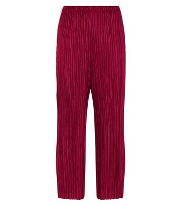 Red Plisse Cropped Side Stripe Trousers New Look
