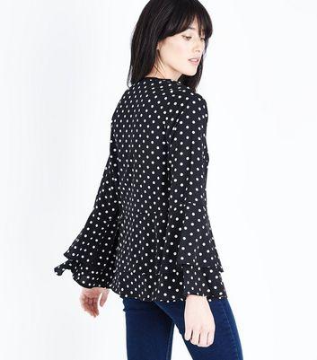 Mela Black Polka Dot Tiered Sleeve Blouse New Look
