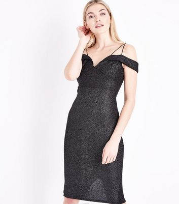 AX Paris Black Glitter Strappy Cold Shoulder Dress New Look