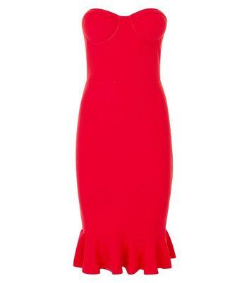 AX Paris Red Frill Hem Strapless Bodycon Dress New Look