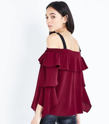 AX Paris Burgundy Cold Shoulder Tiered Sleeve Top New Look