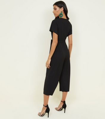 Black Ribbed Wrap Front Culotte Jersey Jumpsuit New Look