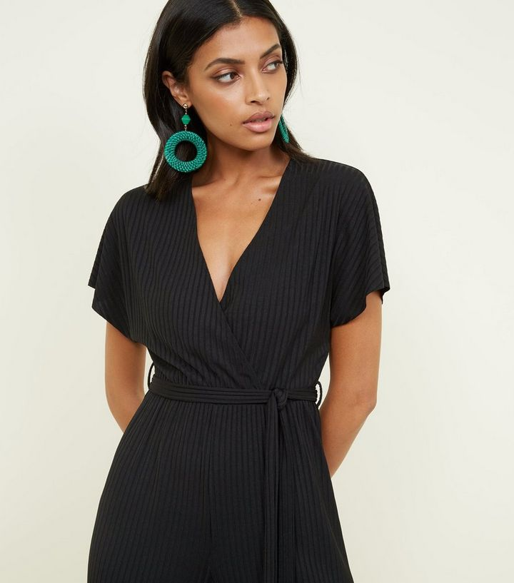 aa614f314a9 ... Black Ribbed Wrap Front Culotte Jumpsuit. ×. ×. ×. Shop the look