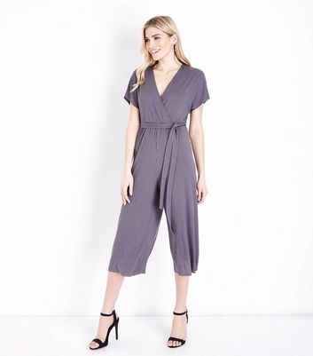 Grey Ribbed Wrap Front Culotte Jersey Jumpsuit New Look