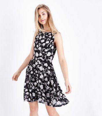 Mela Black Floral Print Tie Waist Dress New Look