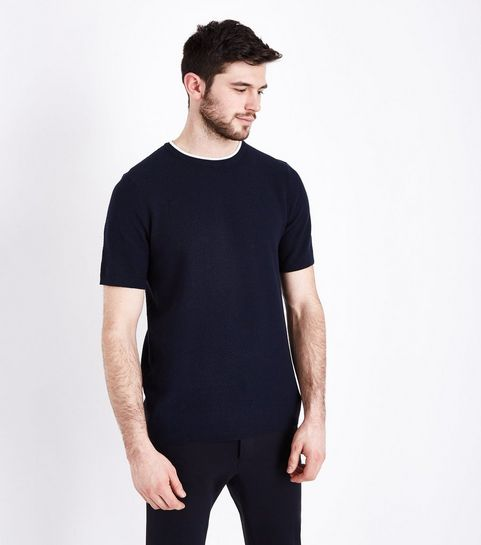 46fe051a00c ... Navy Knit T-Shirt ...