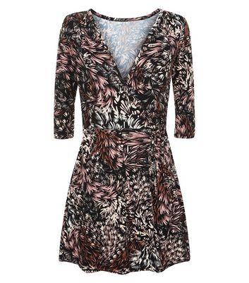 Apricot Black Leaf Pattern Wrap Dress New Look
