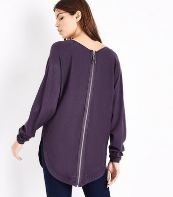 Apricot Purple Curve Hem Ribbed Jumper New Look