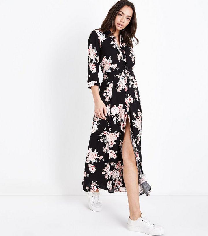 1bc1a277f205 Black Floral Maxi Shirt Dress
