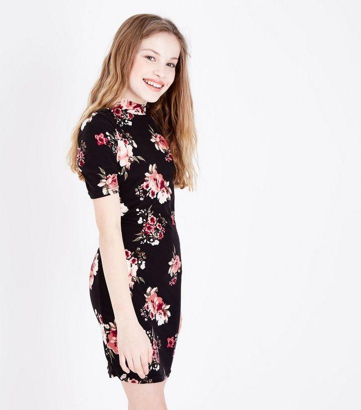 1dbdd177cf2cd Teens Black Floral Print Bodycon Dress | New Look