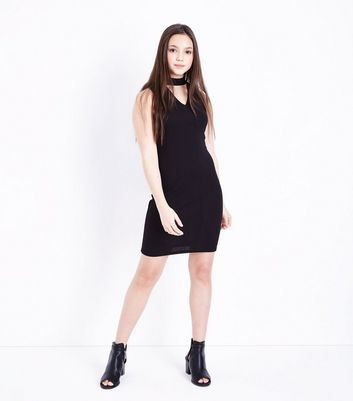 Teens Black Choker Neck Bodycon Dress New Look