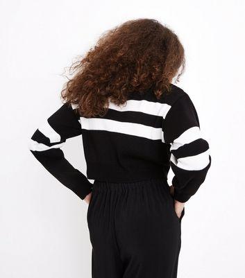 Teens Black Double Stripe Knit Jumper New Look
