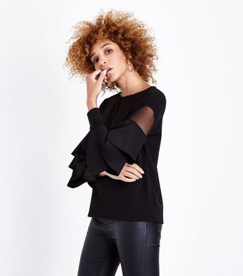 Mela Black Frill Mesh Sleeve Top