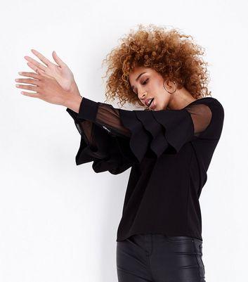 Mela Black Frill Mesh Sleeve Top New Look