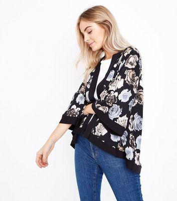 Mela Black Floral Print Kimono New Look