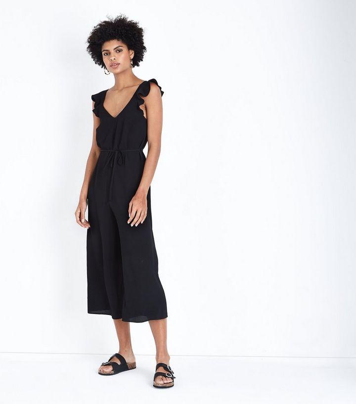 20f8bb98d4 Black Ruffle Strap Jumpsuit