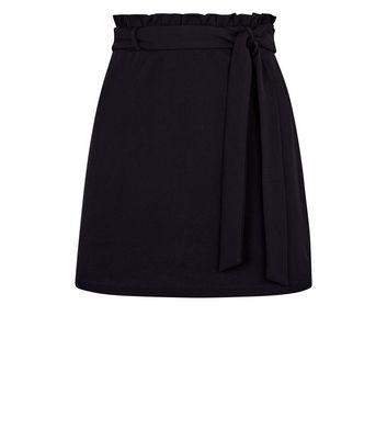 Petite Black Crepe Paperbag Waist Mini Skirt New Look
