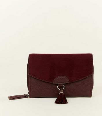 Burgundy Tassel Front Small Purse