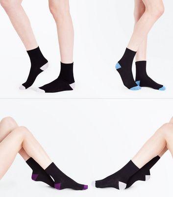 4 Pack Black Contrast Socks New Look
