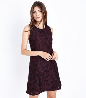 Apricot Burgundy Floral Lace Dress New Look