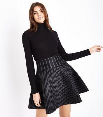 Apricot Grey Geometric Flared Skirt New Look