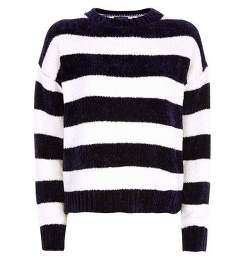 Navy Stripe Chenille Jumper New Look