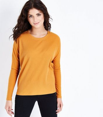 Mustard Brushed Ribbed  Drop Sleeve Top New Look
