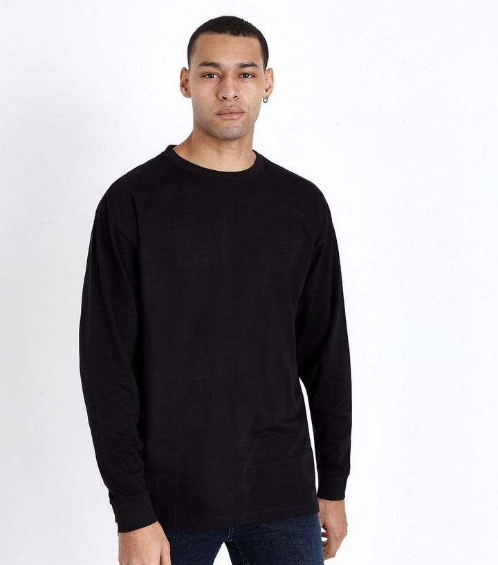 65361e680d5149 Black Cuffed Long Sleeve Oversized T-Shirt | New Look