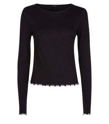 Black Contrast Stitch Long Sleeve T-Shirt New Look