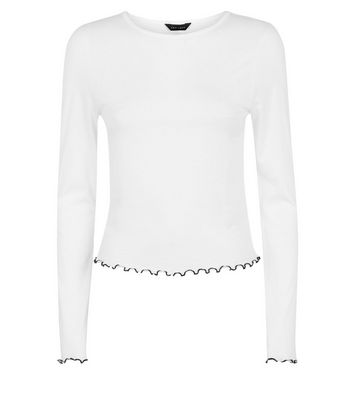 White Contrast Stitch Long Sleeve T-Shirt New Look