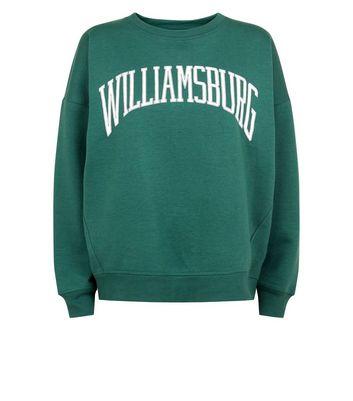 Dark Green Williamsburg Print Sweatshirt New Look