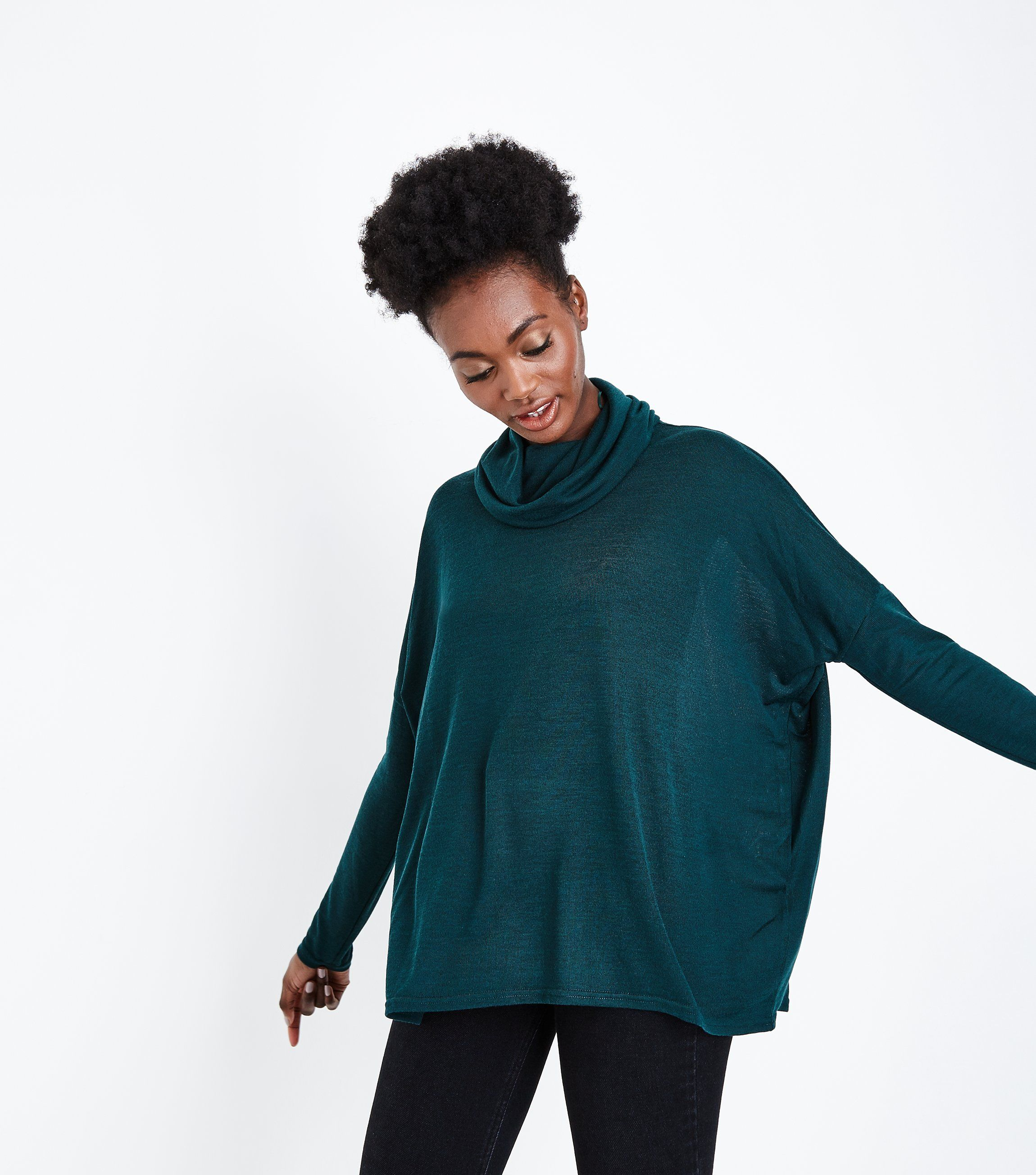 Dark Green Cowl Neck Oversized Top