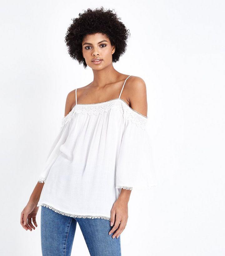 b706be1b3d08a Tall Off White Crochet Trim Cold Shoulder Top