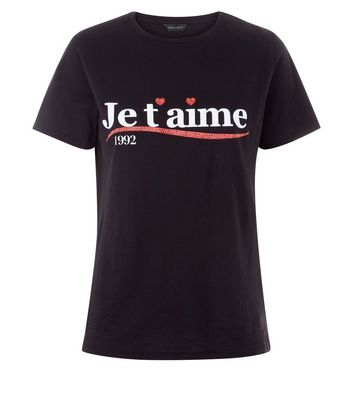 Black Je T'Aime Slogan Front T-Shirt New Look