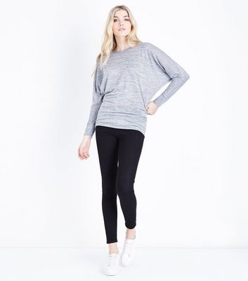 Tall Grey Batwing Sleeve Fine Knit Top New Look