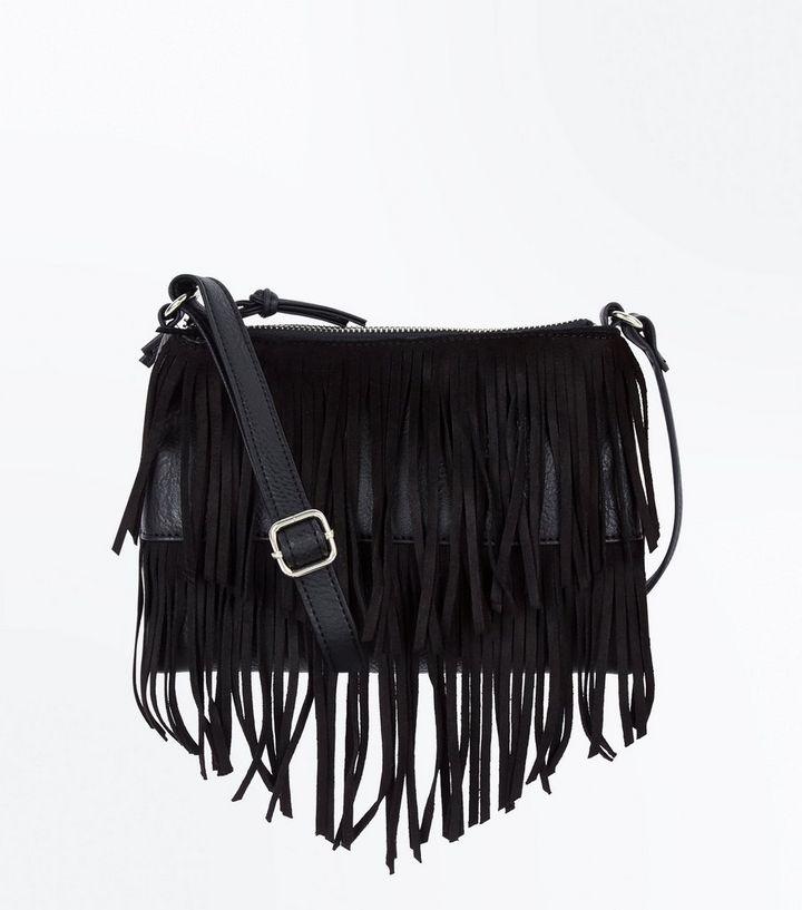 1fe6433db560 Black Fringe Cross Body Bag | New Look