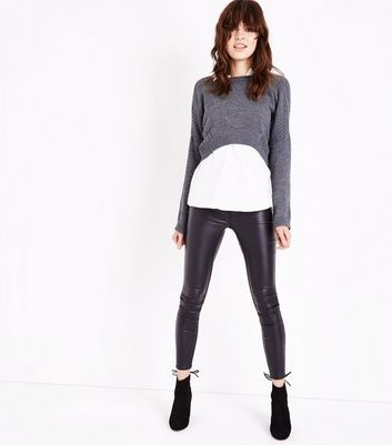 Lulua London Dark Grey Stitch Detail Cropped Jumper New Look