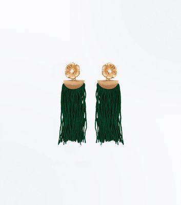 Green Flower Tassel Drop Earrings New Look